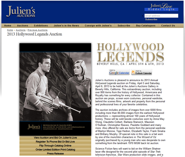 Julien's Auctions 'Hollywood Legends' Catalog Online, Event to be Held in Beverly Hills April 5th & 6th