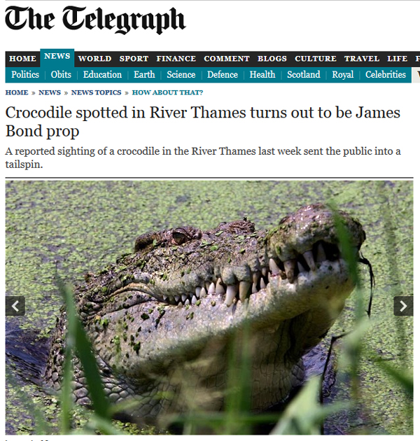 "40-Year Old James Bond Crocodile Movie Prop Terrorizes London… (""Live and Let Die"")"
