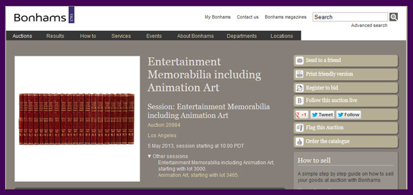Bonhams 'Entertainment Memorabilia including Animation Art' Auction to be Held in Los Angeles on May 5th, Catalog Available Online