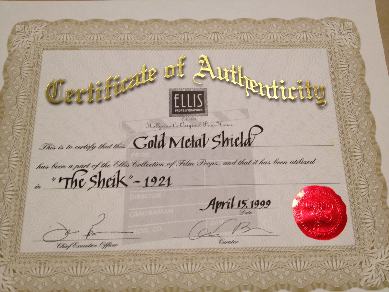 Revisiting Ellis Props & Graphics – Certificates of Authenticity (COAs) Assigned to TV and Movie Props, Set Pieces, & Costumes Circulating in the Marketplace
