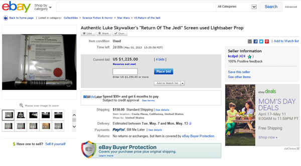 "Yet Another Luke Skywalker ""Screen Used"" Return of the Jedi Lightsaber Movie Prop with Elstree Studios/Elstree Props/Danziger Collection Connections Surfaces on eBay"