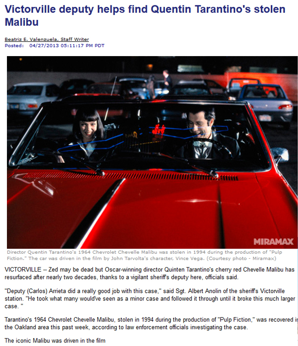 Vincent Vega's Stolen 1964 Chevrolet Chevelle Malibu Movie Prop Car Used in Tarantino's 'Pulp Fiction' Found & Recovered