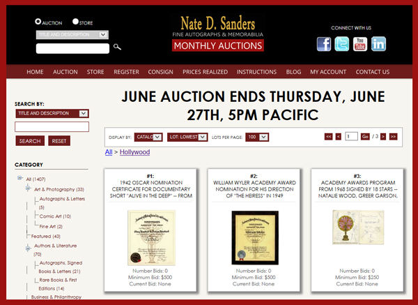 Nate D. Sanders 'Fine Autographs & Memorabilia′ Auction Catalog Available for Online Sale Ending June 27th