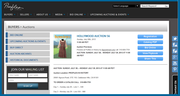 Profiles in History 'Hollywood Auction 56′ TV & Movie Prop Catalog Available Online for Sale Event July 28-29