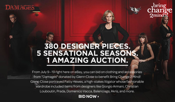 "Glenn Close Holds Charity eBay Auction of ""Damages"" TV Costumes and Wardrobe to Benefit Bring Change 2 Mind"