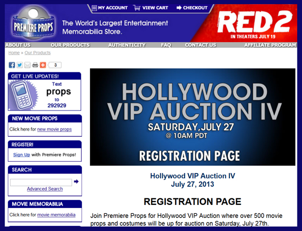 Premiere Props 'Hollywood VIP Auction IV' Catalog Online, Television & Movie Prop and Costume Sale Event July 27th