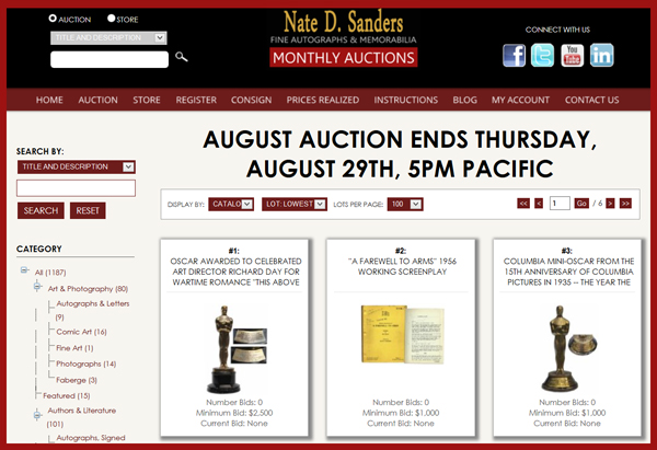 Nate D. Sanders 'Fine Autographs & Memorabilia′ Auction Catalog Available for Online Sale Ending August 29th