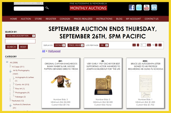 Nate D. Sanders 'Fine Autographs & Memorabilia′ Auction Catalog Available for Online Sale Ending September 26th