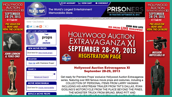 Premiere Props 'Hollywood Extravaganza XI' Auction Catalog Online, Television & Movie Prop and Costume Sale Event September 28-29