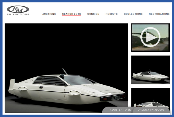 "James Bond Lotus Esprit Movie Prop Car Submarine from ""The Spy Who Loved Me"" Sells for Nearly $1M in RM Auctions Sale"