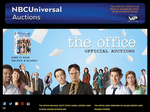 "VIP Fan Auctions Holds ""The Office"" Official Auctions for NBC Universal on eBay (Original TV Props & Costumes)"