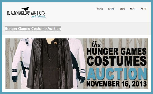 "Blacksparrow Auctions Publishes Online Catalog for their ""Hunger Games Costume Auction"" on November 16th"