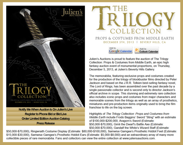 Juliens-Auctions-Trilogy-Collection-Middle-Earth-The-Fellowship-of-the-Ring-Two-Towers-Return-of-the-King-Hollyood-Memorabilia-Peter-Jackson-JRR-Tolkien-Announcement-Portal