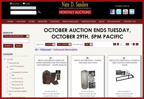 Nate D. Sanders 'Fine Autographs & Memorabilia′ Auction Catalog Available for Online Sale Ending October 29th
