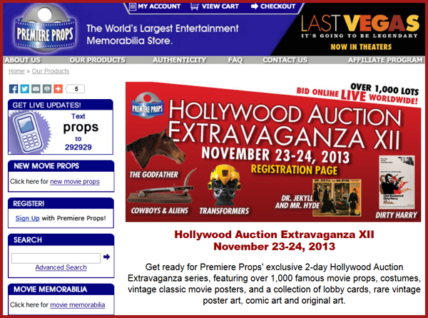 Premiere-Props-Hollywood-Extravaganza-IXII-TV-Movie-Prop-Costume-Hollywood-Memorabilia-Live-Auction-Catalog-Portal