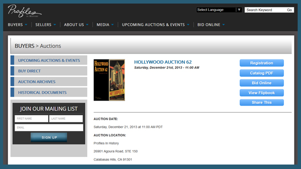 Profiles in History 'Hollywood Auction 62′ TV & Movie Prop Catalog Available Online for Sale Event December 21st