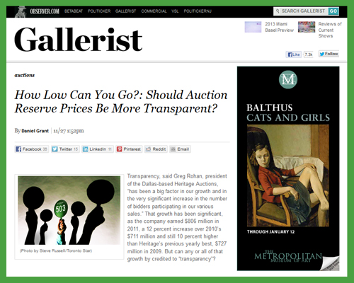 Gallerist Feature Tackles Auction House (Hidden) Reserves and Transparency – Heritage Auctions Leading in This Regard with Publicly Disclosed Reserves