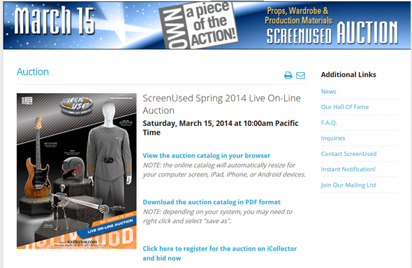 ScreenUsed's Movie Prop, Costume, and Memorabilia Online Auction to be Held on March 15th, Catalog Available Online