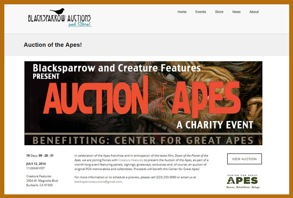 "Blacksparrow Auctions and Creature Features Host July 12th ""Auction of the Apes"" Charity Sale of Planet of the Apes Related Memorabilia"