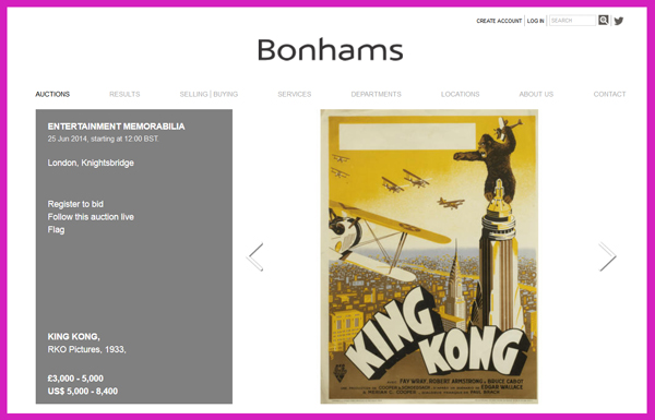 Bonhams 'Entertainment Memorabilia' Auction to be Held in Knightsbridge, London on June 25, Catalog Available Online