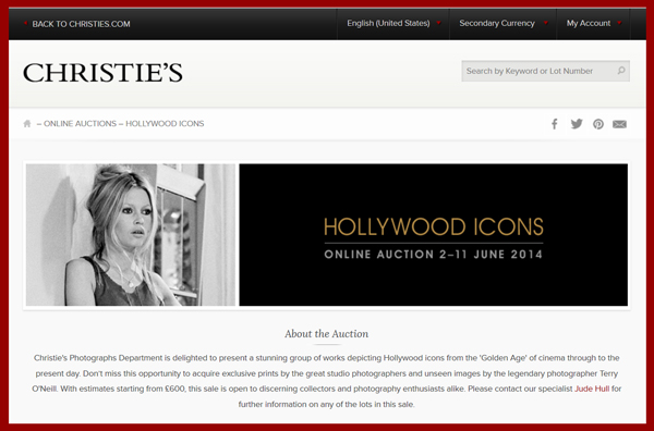 "Christie's South Kensington ""Hollywood Icons"" Online-Only Auction Through June 11th"