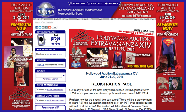Premiere Props 'Hollywood Extravaganza XIV' Auction Catalog Online
