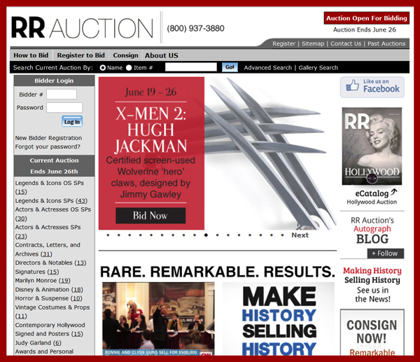 RR Auction 'Hollywood Auction′ Catalog Available for Online Sale Event June 19th – June 26th