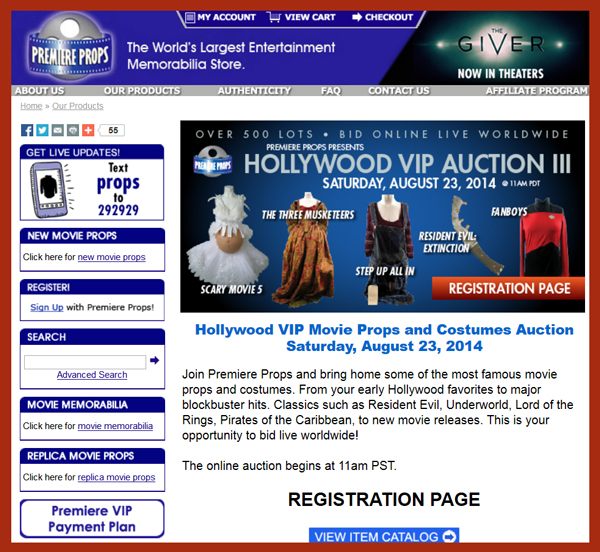Premiere Props 'Hollywood VIP Auction III' Auction Catalog Online