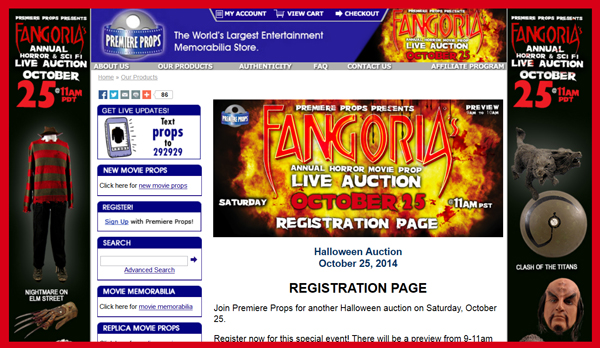 Premiere Props 'Fangoria Horror Movie Prop Live Auction' Catalog Online, Television & Movie Prop and Costume Sale Event October 25th