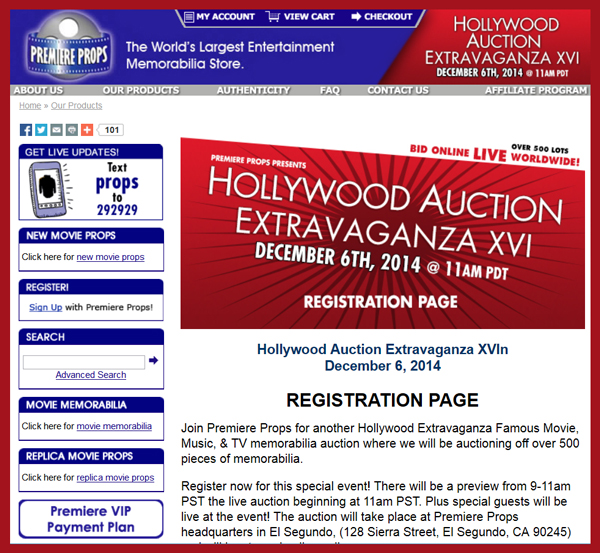 Premiere Props 'Hollywood Extravaganza XVI' Auction Catalog Online, Television & Movie Prop and Costume Sale Event December 6th