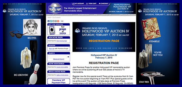 "Premiere Props ""Hollywood VIP Auction IV"" to be Held February 7th"