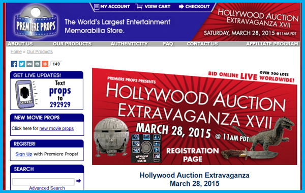 Premiere Props 'Hollywood Extravaganza XVII' Auction Catalog Online, Television & Movie Prop and Costume Sale Event March 28th