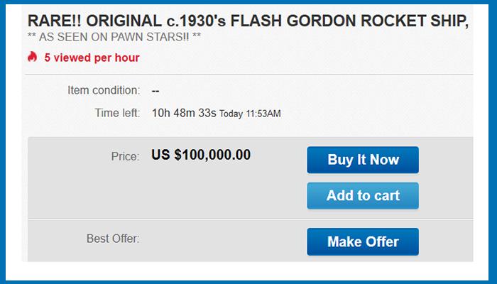 Flash-Gordon-Rocketship-eBay-Pawn-Stars-Replica-Sale-Fake-Authentic-Research-Memorabilia-Movie-Serial-Prop-FI