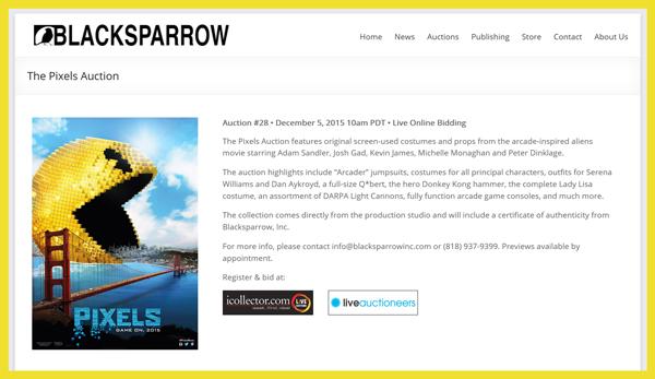 Blacksparrow-The-Pixels-Auction-Movie-Props-Costumes-Arcade-Games-Catalog-Portal