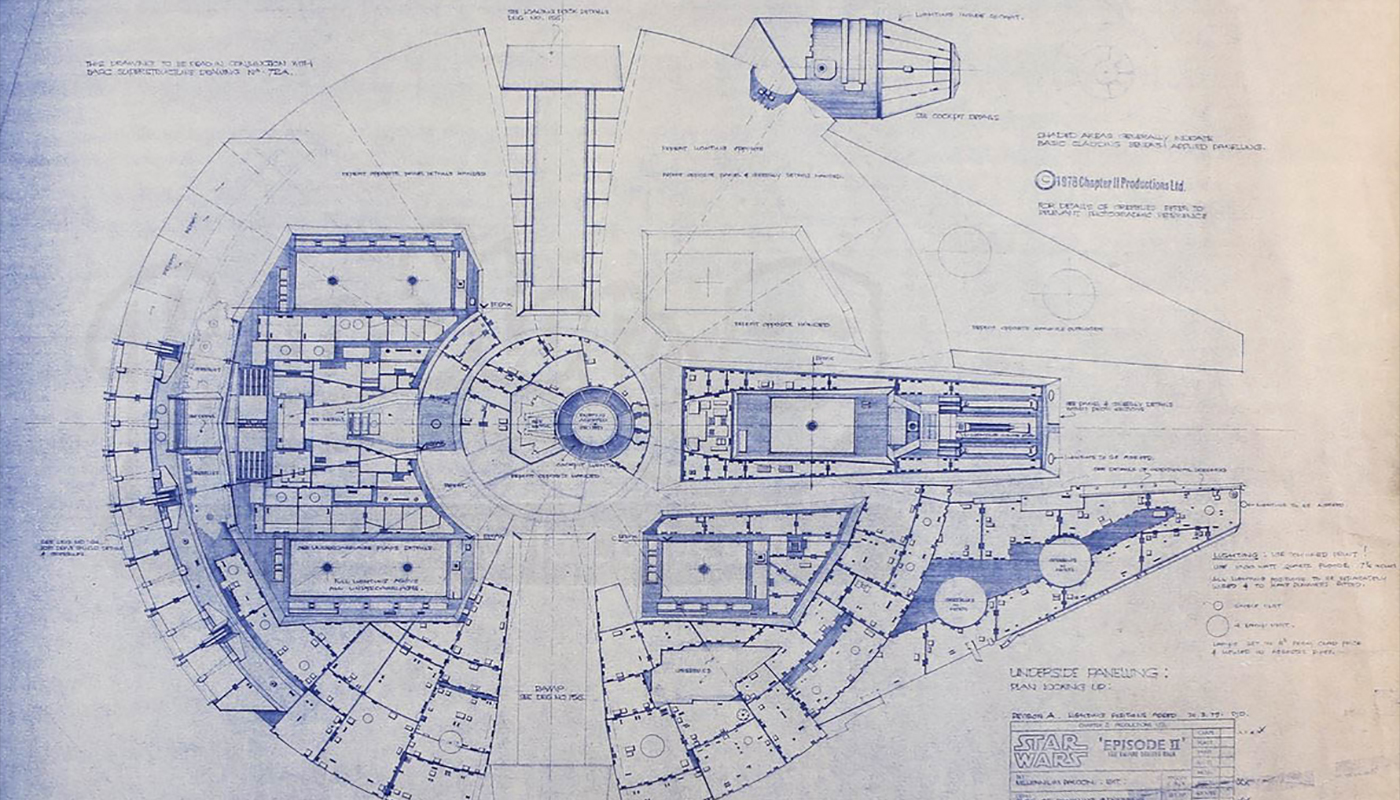 Prop Store Holds Online Star Wars Star Trek Blueprint Auction April 14th 28th on Floor Plan Drawing