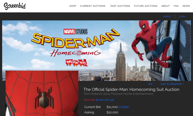"""Screenbid's """"The Official Spider-Man: Homecoming Suit"""